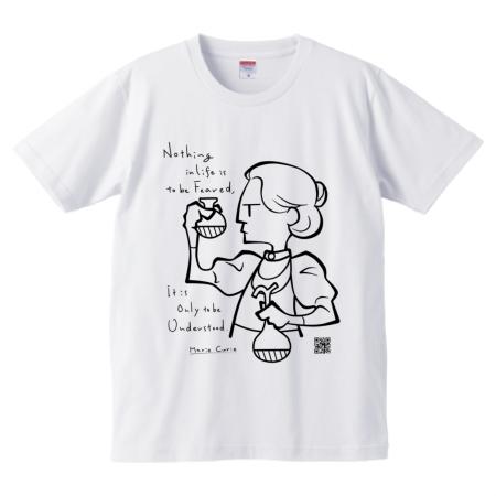 科学者名言Tシャツ マリー・キュリー (白)_01